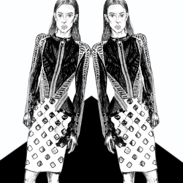 Herve leger, Max Azria, illustrations, fashion, trend, pre-fall, 2016, bandage, skirt, jacket