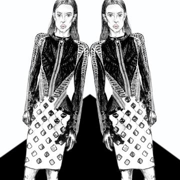 Herve leger, Max Azria, illustrations, fashion, trend, pre-fall, 2016, bandage, skirt, jacket