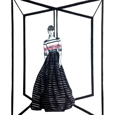 Carolina Herrera, Pre Fall, 2016, fashion, illustrations, trends, illustrations, gowns, stripes, black and white,