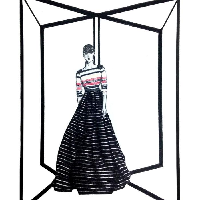 Carolina Herrera, Pre Fall, 2016, fashion, illustrations, trends, illustrations, gowns, stripes, black and white,