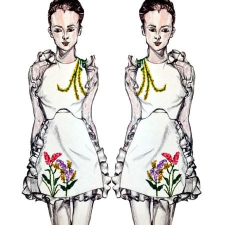 Giambattista Valli, floral, flowers, spring, summer, SS16, trends, 2016, fashion, illustrations, illustrators, sketch, runway, blogger, dress